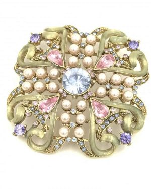 Vintage Rhinestone Pin Brooch Seed Pearls Beautiful Unmarked Non Magnetic Gold Tone Metal