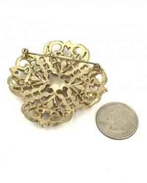 Vintage Rhinestone Pearl Pin Brooch
