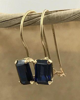 14K Yellow Gold Emerald Cut Blue Sapphire Gemstone Designer Earrings