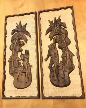 Vintage Mid Century Tiki Style Carved Wall Art Wood Burlap – Matching Set – Textured – Not signed