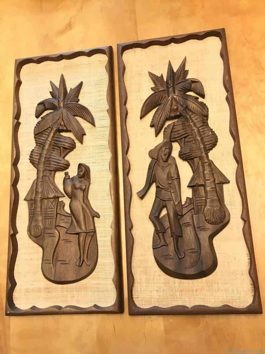 Vintage Mid Century Tiki Style Carved Wall Art Wood Burlap Matching Set Textured Not Signed