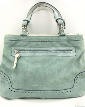 Coach Hamilton Suede Handbag Purse Satchel Carryall Tote 5007 Leather Green White