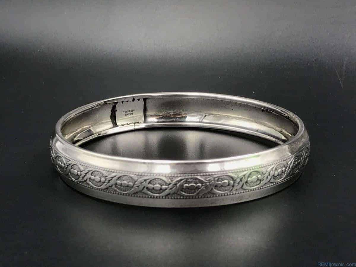 vintage sterling silver beau bangle bracelet remijewels
