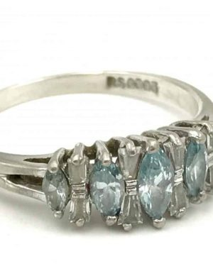Sterling Silver Marquise Blue Clear Glass Stone Ring Size 9 – Signed RSC 925