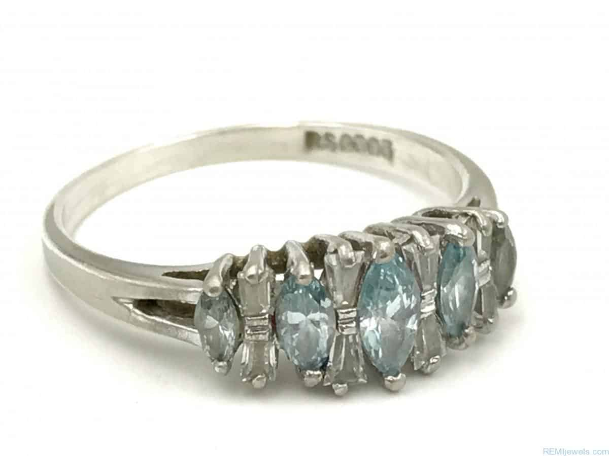 Sterling Silver Marquise Blue Clear Glass Stone Ring Size