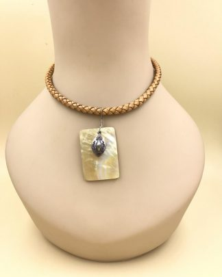 Signed Silpada Sterling Silver Braided Brown Shell Pendant Necklace