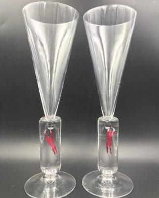 Kosta Boda Millennium Pair Champagne Flutes Bertil Vallien