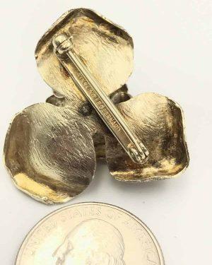 Signed Les Bernard Sterling Vermeil Rose Brooch Pin Vintage 1960's