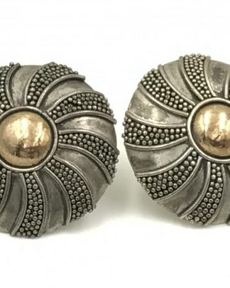 Vintage Sterling Silver Round Two Tone Post Earrings
