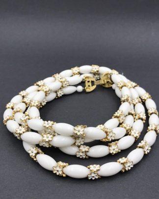 Vintage Trifari White Glass Beaded Enamel Flower 2 Strands Necklace
