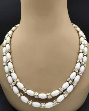 Vintage Trifari White Glass Beaded Enamel Flowers 2-strands Necklace