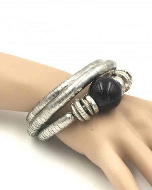 Women's RETRO Stainless Steel BOHO Big Black Ball Bracelet – Adjustable