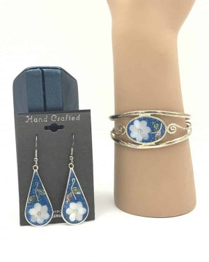 Beautiful Bracelet Mother Pearl Blue Inlay Matching Earrings Abalone Signed Mexico