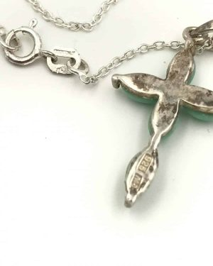 Sterling Silver Turquoise Cross Pendant Necklace 18″