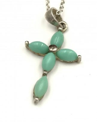 Sterling Silver Designer Multi-stone Turquoise Cross Charm Necklace