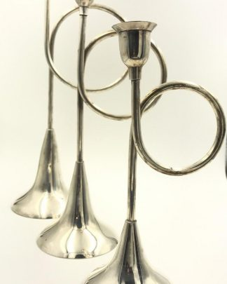 Dansk Silverplated Horn Candlesticks