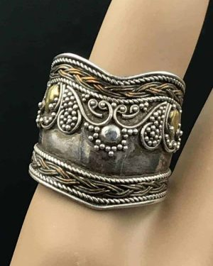 Vintage Sterling Silver Vermeil Cigar Wide Band Ring 925 Size 9.75 – Braided Edge – Tapers in Back –