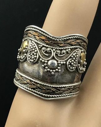 Vintage Sterling Silver Vermeil Cigar Wide Band Ring