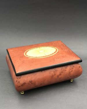 """Vintage Wood Jewelry Trinket Music Box Red Velvet – """"Romance"""" Made in Italy"""