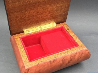 Vintage Wood Jewelry Trinket Music Box Red Velvet