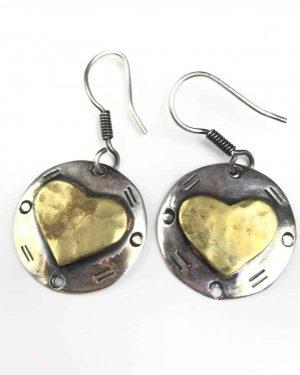 Vintage Sterling Silver Heart Two Tone Dangle Earrings – 925 Mexico
