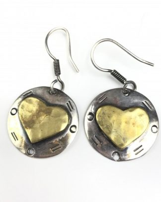 Vintage Sterling Silver Heart Two Tone Dangle Earrings
