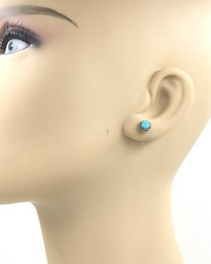 Vintage Sterling Silver Oval Turquoise Post Earring – Sterl 925 DF
