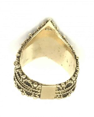 Vintage Yellow Gold Unique Tiara Crown Cigar Wide Ring Size 7
