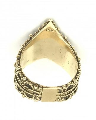Vintage Yellow Gold Unique Tiara Crown Cigar Wide Band Ring