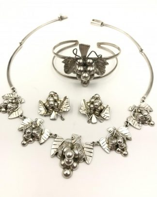 Sterling Silver Jewelry Set, Mexico 925, Vintage Grape Cluster Leaf