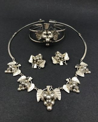 Sterling Silver Jewelry Set Mexico 925 Vintage Grape Cluster Leaf