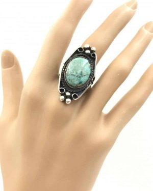 Vintage Turquoise Ring Cabochon Sterling Silver, Southwestern Native American Navajo Jewelry Style – Size 8