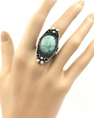 Vintage Turquoise Ring Cabochon Sterling Silver, Southwestern Native American Navajo Jewelry Style - Size 8