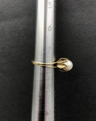 Vintage 14K Yellow Gold Genuine Pearl Statement Ring