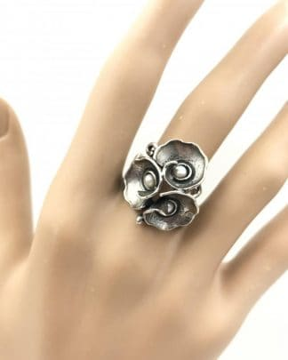 Vintage Sterling Silver Filigree Seed Pearl Wide Flower Ring