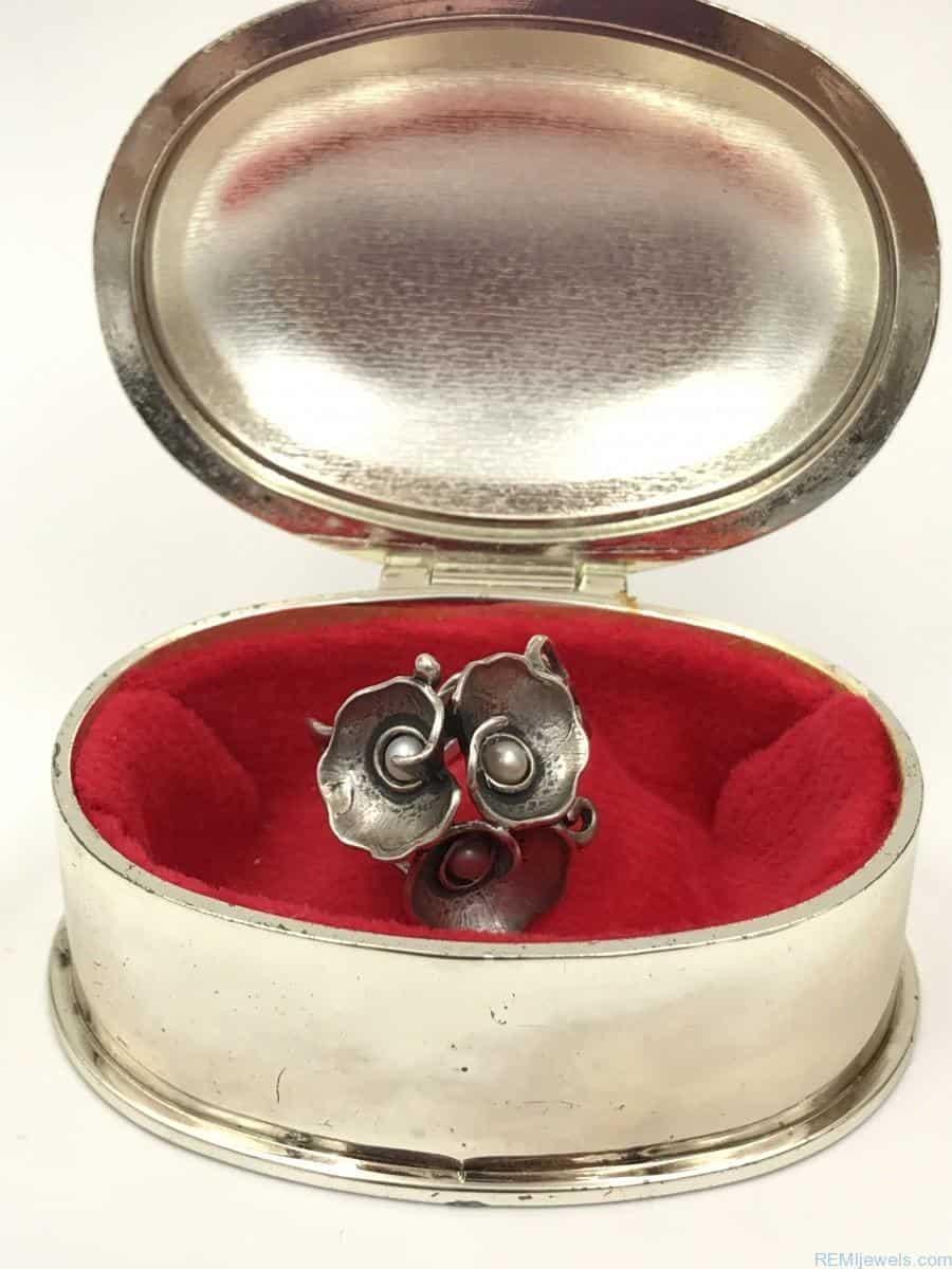 Vintage Sterling Silver Filigree Seed Pearl Wide Flower