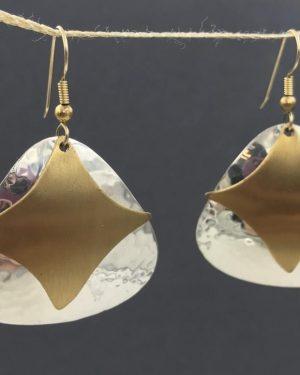 Sterling Silver Bronze Star Dangle Earrings – Signed 925