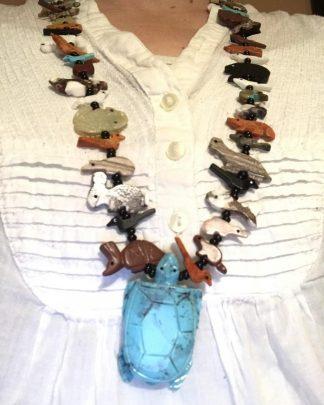 Vintage 925 Sterling Silver Gemstone Carved Animal Fetish TURTLE Necklace