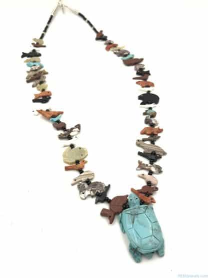Vintage 925 Sterling Silver Gemstone Carved Animal Fetish TURTLE Necklace