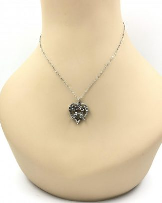 Vintage Sterling Silver Love Birds Heart Purple Stone Necklace