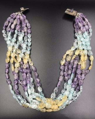 Sterling Silver Blue Purple Yellow Bead Multi-strand Necklace 18 Inches