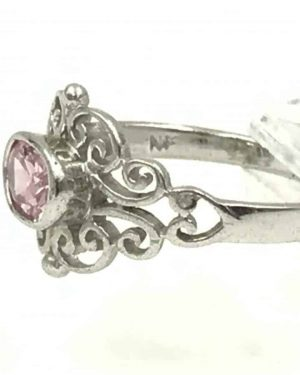 Designer Sterling Silver Oval Pink Clear Glass Stone Ring Size 8 – Signed 925 M