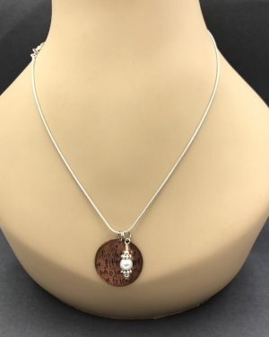 Sterling Silver Pearl Copper Mother Daughter Charm Necklace 20″ Dog Tags