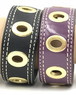 Coach Leather Grommet Bracelets Gold Hardware