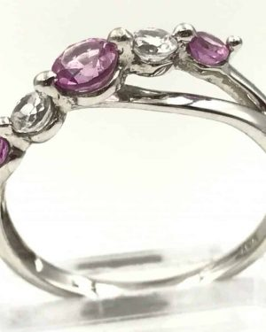White Gold Pink Topaz Gemstone Ring Signed 10K SIS Size 6.5, Solid Gold 1.75g