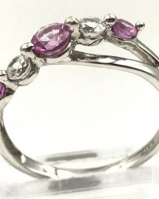 White Gold Pink Topaz Gemstone Ring Signed 10K