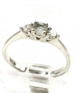 Vintage Designer White Gold Glass Gemstone Ring – Size 6.5, 10k