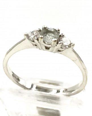 Vintage Designer White Gold Glass Gemstone Ring