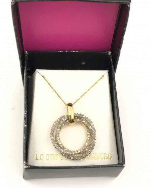 Sterling Silver 1.0 Carat Diamond Trinity Rings Pendant Necklace – Signed RSE 925 – Robert Seemann
