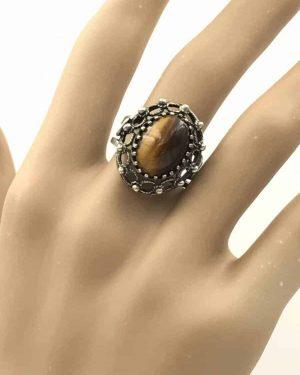 Sterling Silver Brown Tigers Eye Cabochon Gemstone Ring Size 7 Adjustable Signed 925 Israel